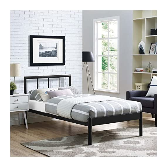Modway Gwen Steel Metal Farmhouse Platform Twin Bed Frame With Headboard in Brown - BEDROOM UPDATE - Instantly refresh a guest room, kid's or teen's room with this platform bed frame. The modern farmhouse style of Gwen's metal headboard is the ideal backdrop for bedding of all kindS CONTEMPORARY STYLE - Modern in form with rustic and vintage accents, the conceptually simple design and clean lines on Gwen make this platform bed frame a seamless addition to any bedroom décor STURDY MATTRESS FOUNDATION - Extend the life of a variety of mattress types, including memory foam, latex, hybrid, and spring, thanks to the sturdy, supportive slats and reinforced frame - bedroom-furniture, bedroom, bed-frames - 519UW4jWaWL. SS570  -