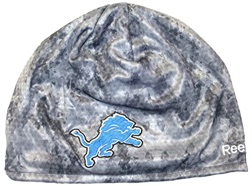 NFL Officially Licensed Detroit Lions Team Logo Swarm Knit Beanie Hat Cap Lid Skull - Reebok Detroit Lions Fleece