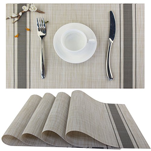 Bright Dream Placemats for Dinner Table Mats Washable Heat-resistand PVC Hard Placemats Set of 4(Gray)