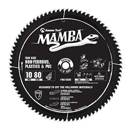 Amana Tool MA10080 Carbide Tipped Thin Kerf Laminate Flooring, Non-Ferrous, Plastic & PVC Cutting Contractor Series Mamba 10 Inch D x 80T, TCG, -6 Deg, 5/8 Bore Circular Saw Blade (Thin Laminate Kerf)