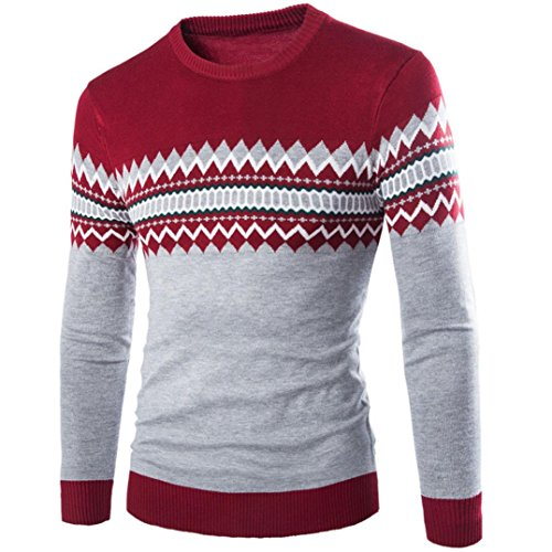 Hiver Slim Jacquard Block Knitting Pullover Longues Pull Homme Rouge Overdose Noël Manches Pull Color ta6xwB