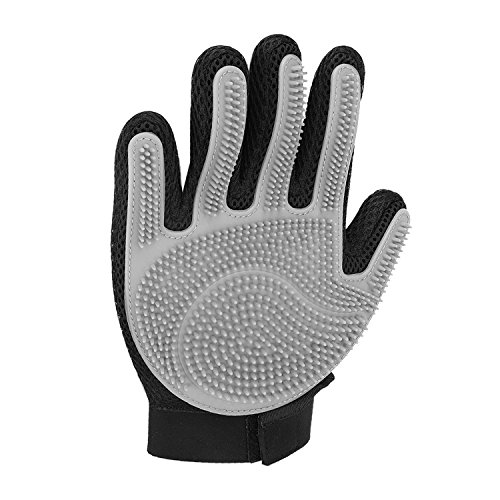 UPC 810651031564, Flexzion Pet Grooming Glove Right Hand 1 Piece - Gentle Efficient Touch Deshedding Brush Hand Glove Hair Remover Mitt Massage Tool with Soft Rubber Tips for Dog Cat Horses with Long Short Fur (Gray)