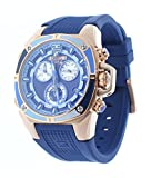 Technosport Swiss Chronograph Blue Silicone Strap 38mm Rose Gold Case Unisex Watch TS-100-Splash3