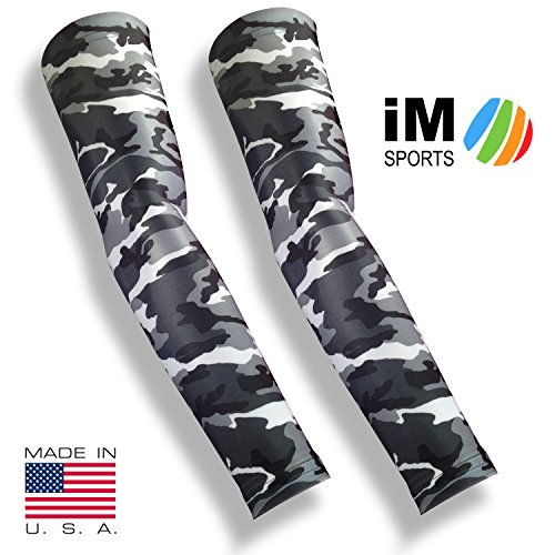 iM Sports SKINGUARDS Skin Protection Full Arm Sleeves + Protects Aging or Thin Skin + UV Protection - Unisex + Made in USA - Grey Camo - Medium / Large - Pair