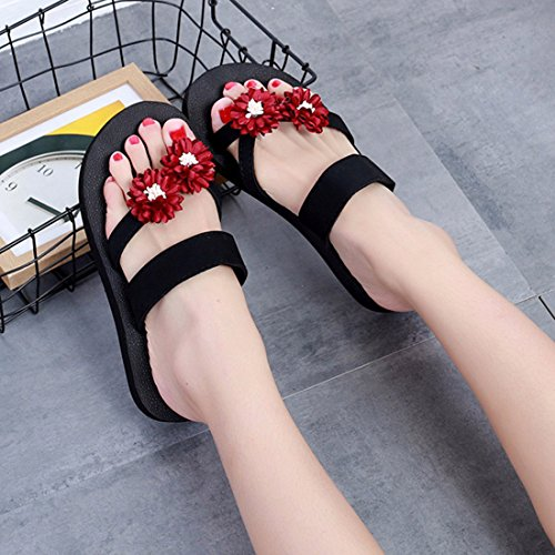 Red Slide Flops Shoes Beach Women Comfort for Slippers Jiyaru Flip Casual Summer Sandals B7w4fxqSnU