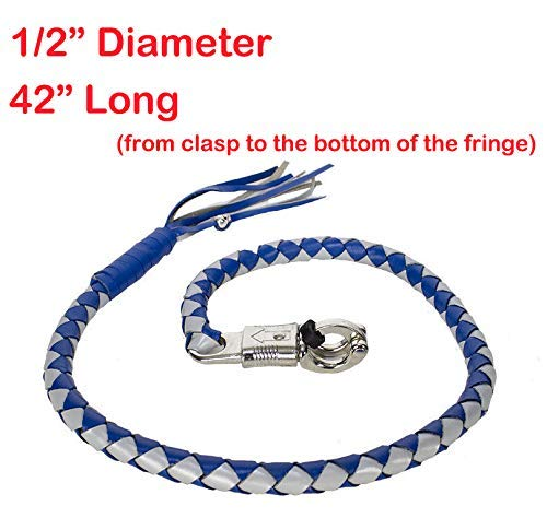 """42 Long 1//2/"""" Diameter Silver /& Blue Motorcycle Get Back Whip Real Soft Genuine Leather DMD Trading"""