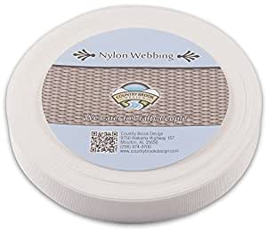 Country Brook Design 5/8 Inch White Lite Weight Nylon Webbing, 10 Yards