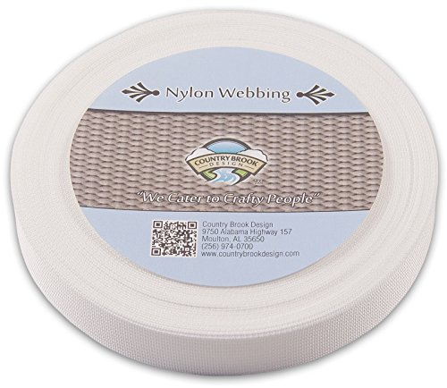 Lite Cloth Strap (Country Brook Design 1 Inch White Lite Weight Nylon Webbing, 10 Yards)