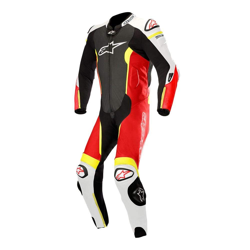 Alpinestars Missile Leather One-Piece Suit (Tech Air Compatible) (50) (Black/White/RED Fluo/Yellow Fluo)