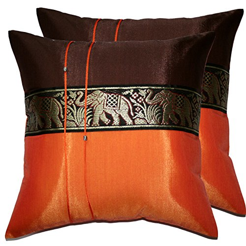 2 Pieces Elephant Decorative Pillow Cover Cushion Cases Throw Sofa Color Orange-Brown Size 16x16 Inch by THAI SILK