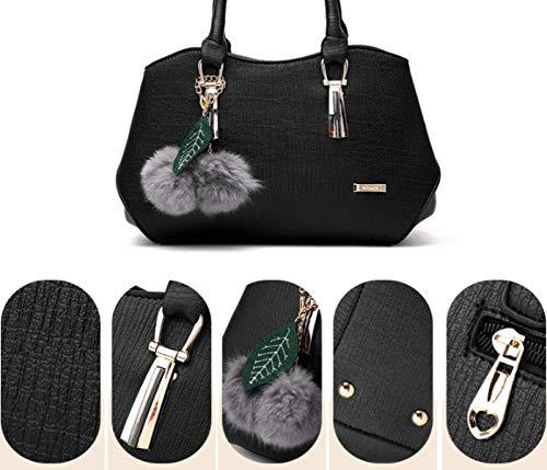 Ladies Handbag Leather La Pu Purple Shoulder colore Size Yisaesa rosso Vino qSR4xw5