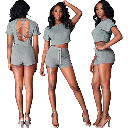Gotd Fashion Women Tracksuit Set Backless Shor Sleeve Crop Top and Shorts Sportswear (M, Gray)