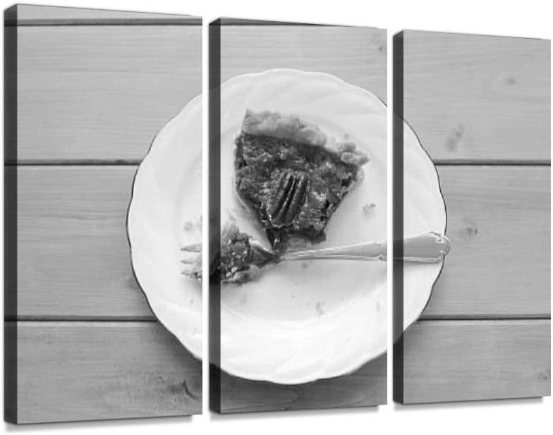 BELISIIS Half Eaten Slice of Pecan Pie Food Black and White Wall Artwork Exclusive Photography Vintage Paintings Print on Canvas Home Decor Wall Art 3 Panels Framed Ready to Hang