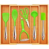 Bamboo Kitchen Drawer Organizer and Utensil Holder - Expandable Cutlery Tray for Kitchen Utensils, Flatware and Silverware by Royal Craft Wood