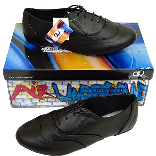 Damen Brogue breit flache Oxford schwarz Lace Up Schuhe Größen 5-9 Damen Pumps