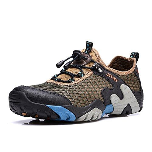 CraneLin Men's Outdoor Hiking Shoe Walking Sneaker Boating Water & Trail Shoes CRHW2031-Khaki01-46
