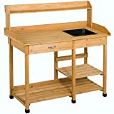 Wooden Outdoor Planting Gardening Garden Potting Bench Workbench Workstation Table Removable Sink Drawer 2 Tiers Storage Shelves Rack Open Shelf 3 Side Hooks Gardening Supplies Tools Storage