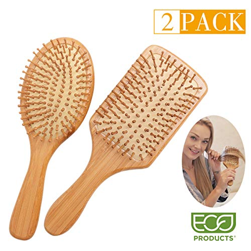 Zhuoyue Hair Brush - Natural Bamboo Paddle Hair Brush Set with Bamboo Bristle for Women Mens Kids Thick Fine Curly Roll Straightener, Detangling Hairbrush Reduce Frizzy and Massage Scalp