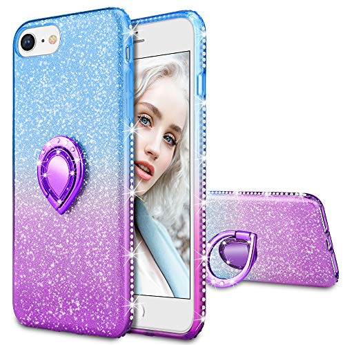 Maxdara Case for iPhone 8, iPhone 7 Glitter Case Shiny Bling Diamond Rhinestone Kickstand Ring Grip Holder Ultra Thin Pretty Girls Women Case Cover for iPhone 6/6s/7/8 4.7 inches ()