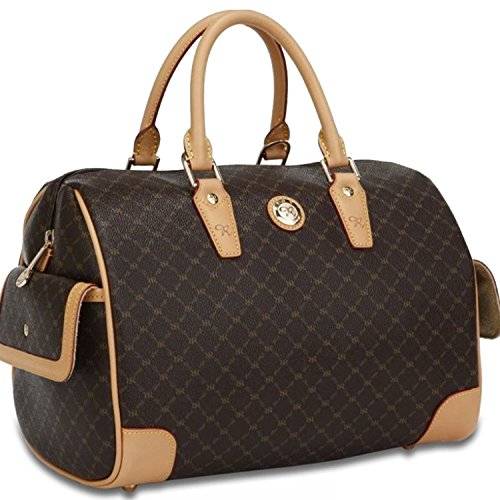 e Large Canvas Bowler Boston Bag Handbag w/ Leather Trim ()