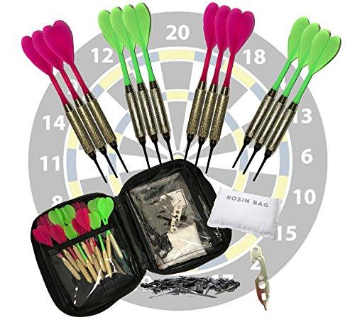 Set of 12 Hot Pink & Hot Green Brass 2ba 16gm Soft Tip Darts + 24 Black Dart Tips, Rosin Bag, Case & Dart Wrench