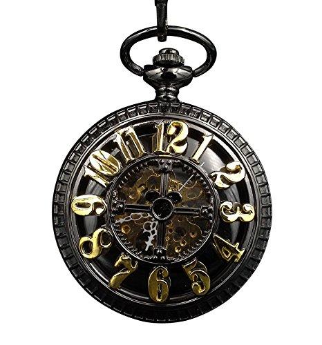 ShoppeWatch Pocket Watch Black Case Gold Arabic Numerals Steampunk Skeleton Dial Half Hunter PW-183