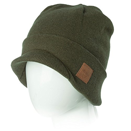 Brimmed Winter Hats - SIGGI Womens Winter Jeep Beanie Hat Cap Wool Knit with Visor Bill for Man Ladies Green XL Large