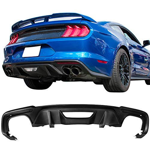 - Rear Diffuser Fits 18-19 Ford Mustang | GT Style Matte Black Factory Textured PP Polypropylene Bumper Lip By IKON MOTORSPORTS
