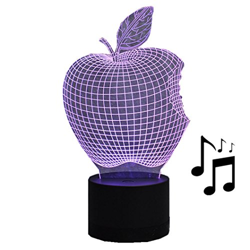 Optical Illusion Dress Costume (Kanzd Creative USB Bluetooth Stereo Colorful 3D Optical Illusion Bedroom Home Decor Apple LED Table Lamp (multicolor))