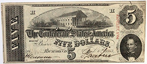- 1863 Confederate States of America $5 Five Dollar Bill Note #87