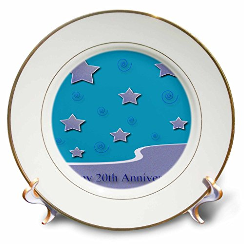 3dRose cp_34328_1 Happy 20th Anniversary, Lavender Stars on Aqua Employee Anniversary-Porcelain Plate, (Lavender Clock Plate)