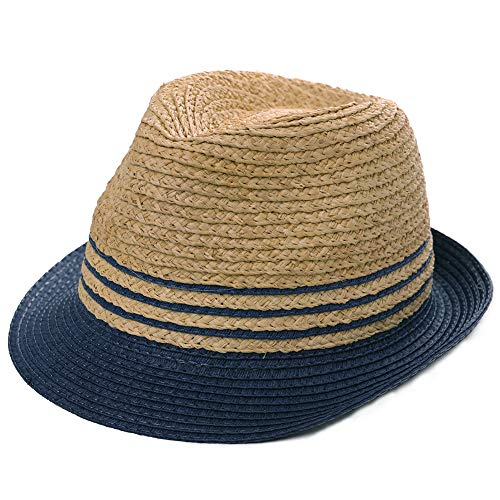 (Womens Mens Raffia Straw Fedora Brim Panama Beach Crushable Packable Havana Summer Sun Hat Party Ladies Navy Blue Medium)