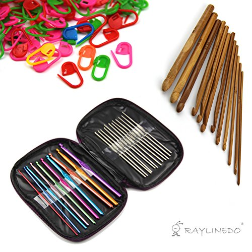 RayLineDo 22pcs Mixed Aluminum Handle+ 12pcs Bamboo Handle Crochet Hooks Needles Yarn Weave Knit Craft Set with 20PCS Knitting Crochet Locking Stitch Markers