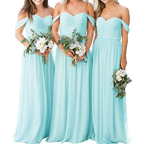 - Fashionbride Women's Wedding Party Gown Chiffon Crystal Belt Off Shoulder Bridesmaid Dresses Long ED63 Ice Blue-US6