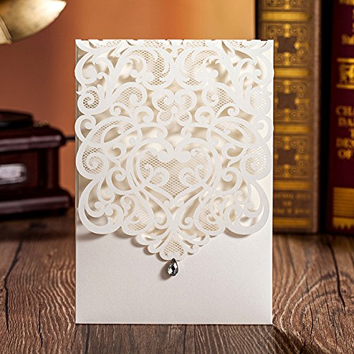 Hollow White Wedding Invitations Elegant Laser Cut Birthday Party Banquet Celebration Cardstock with Rhinestone CW5001 (100) by Wishmade
