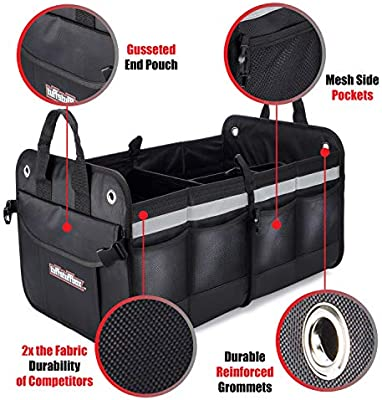 Premium Car Trunk Organizer Cooler Insulated Leakproof Bag Car Accessories for Women Automotive Stuff Tuff Stuff Box TSB001 Truck Bed Storage Accessories Back seat Organizers SUV