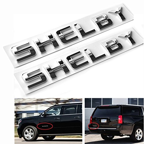 - Qukparts 2pcs Emblem SHELBY Badges 3D Nameplate Letters for Ford Mustang Vehicle Trucks General Replacement glossy Chrome