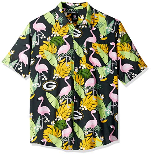 (NFL Green Bay Packers Mens Floral Tropical Button Up Shirt, Team Color, XXL)