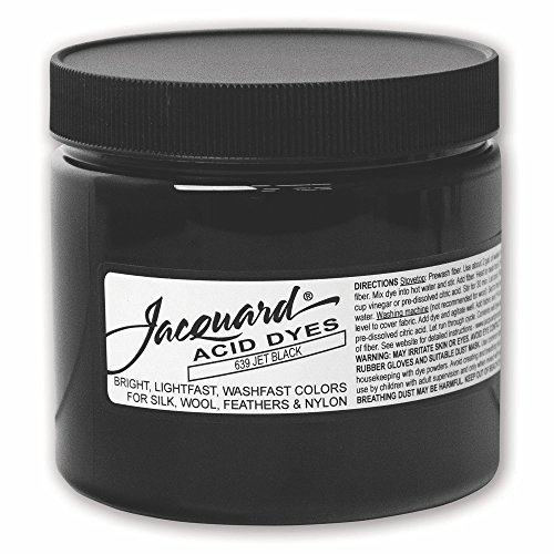 Jacquard Cashmere - Jacquard Acid Dye for Wool, Silk and Other Protein Fibers, 8 Ounce Jar, Concentrated Powder, Jet Black 639