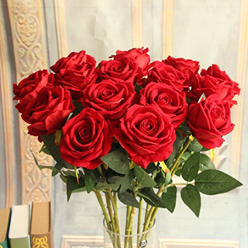 48pcs-Rose-Bouquet-Artificial-Flowers-with-Real-Touch-No-Vase