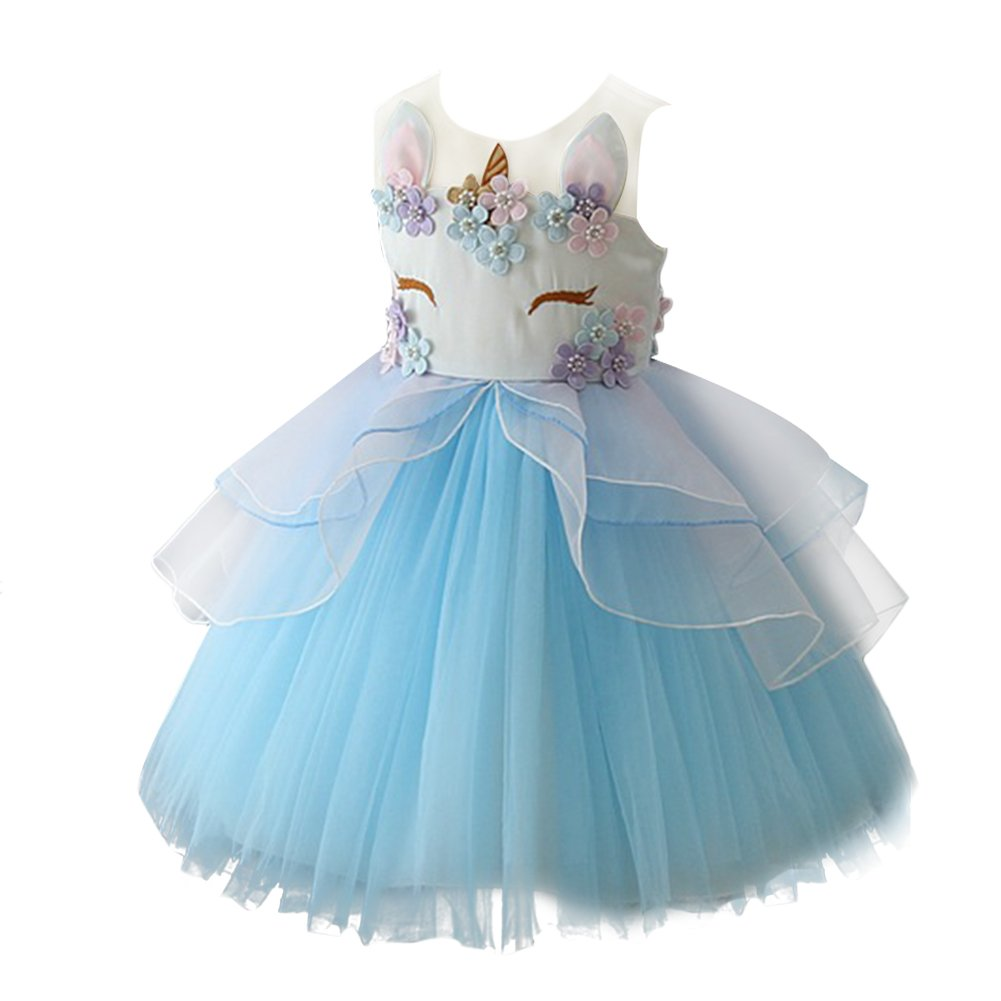 c1ab4a8e9240 FYMNSI Toddler Kids Baby Girl Unicorn Costume Fancy Dress Tutu Tulle  Princess Party Birthday Pageant Wedding Bridesmaid Flower Girls Dressing  Gown Halloween ...