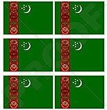 "TURKMENISTAN Flag TURKMEN 40mm (1,6"") Mobile Cell Phone Vinyl Mini Stickers, Decals x6"