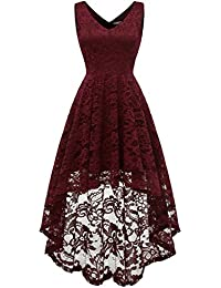 Women's Sleeveless Hi-Lo Lace Formal Dress Cocktail Party...