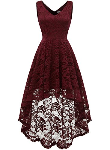 9f560dac3432a6 Home Homecoming Dresses MUADRESS 6666 Sleeveless Hi-Lo Lace Formal Dress  Cocktail Party Dress V Neck 2XL Burgundy.   