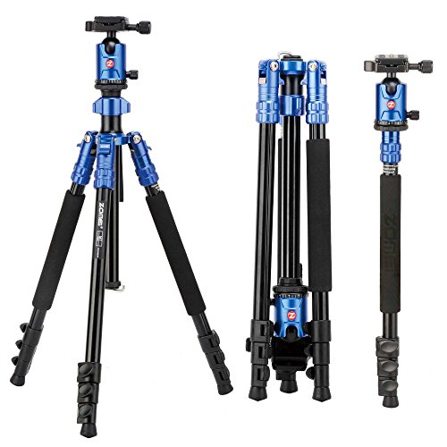 Camera Tripod, ZOMEi 63 Inch Aluminum Compact Tripod with Ball Head Quick Release Plate DSLR Tripod Monopod for Camera Canon Nikon Sony DSLR DV Blue by ZOMEI