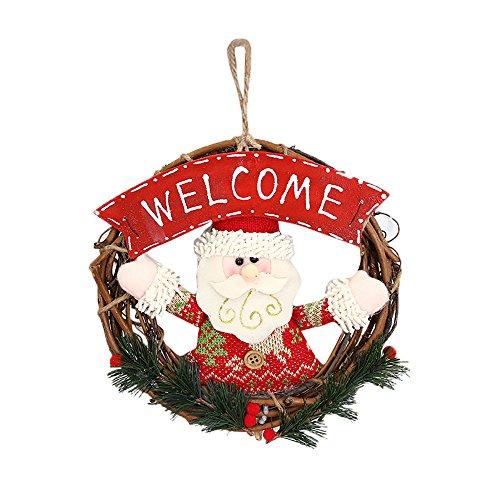 Pausseo Christmas Rattan Hanging Wreath Door Ornaments Gift Santa Claus Snowman Reindeer Children Kids Toy Doll Hanging Set Kit DIY Scrapbooking Set Festival Xmas Tree Art Garden House Home Decor (E)