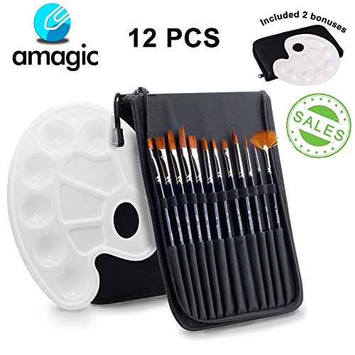 - Art Paint Brush, Set 12 Pieces - Amagic Nylon Professional Watercolor Brushes for Acrylic Oil Painting with 1 Bonus Free Paint Tray Palette (Black)