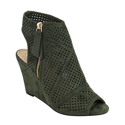Forever IF91 Women's Peep Toe Cutout Open Back Wrapped Heel Wedge Sandals, Color:OLIVE, Size:8