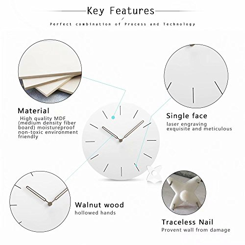 FlorLife Round Wall Ticking 12 Atomic Sweep Movement for Living Bathroom,