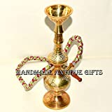 An antique old solid Brass Islamic Mughal style Hookah hukka chilam